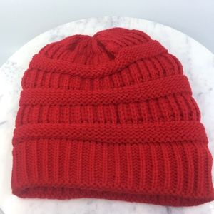 Ribbed Knit Red Beanie